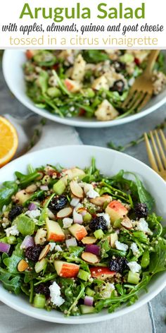 his Arugula Salad combines crisp apples, toasted almonds, hearty quinoa, creamy goat cheese, tart dried cherries and tossed in a delicious citrus vinaigrette. | Gluten-free | Vegetarian | Vegan-optional | http://therealfoodrds.com/arugula-salad-with-apples-almonds-quinoa-and-goat-cheese/