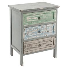 With its distressed finish and three drawers, this side table provides essential storage space positioned at your bedside. Product: