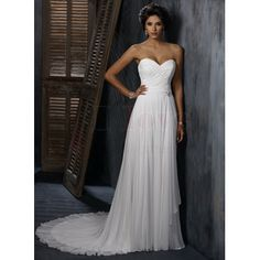 sweetheart chiffon wedding dress...why would a bride want to pay more??  Gorgeous.