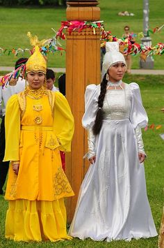 Yakut traditional costumes. Sakha Republic in the Northern Russian Republic territory.