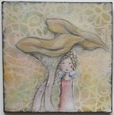 Toadstool fairy girl - girl mixed media drawing painting shadowheartchallenge day 8