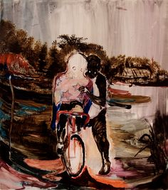 Rao Fu (Chinese, b. Bicycle, Oil on canvas, × cm Dresden, Jesse Owens, Veronica, Oil On Canvas, It Works, Bicycle, Darth Vader, Clouds, Nature