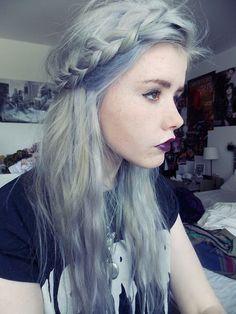 grey and white box braids | grey braids