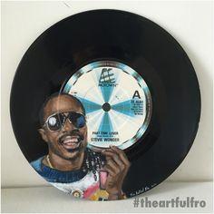 #Vinylart  #StevieWonder on 7inch #vinyl #record  'Part-time Lover'  www.theartfulfro.com