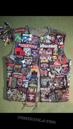 So I'm not the only one sewing festival bracelets onto my vest Punk Jackets, Cool Jackets, Denim Jackets, Band Jacket, Jean Jacket Vest, Combat Jacket, Battle Jacket, Primal Fear, Festival Bracelets