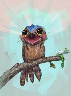 Common potoo by Ptich-ya on DeviantArt Bird Drawings, Cute Drawings, Great Potoo, Potoo Bird, Japanese Animals, Australian Birds, Creature Design, Fantasy Creatures, Bird Art