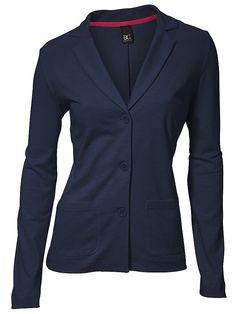 Blazer femme en sweat bleu marine, col tailleur...