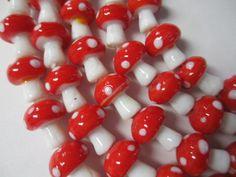 MUSHROOM BEADS Glass Lampwork Shrooms 5 strands by BeansterGoods, $16.77
