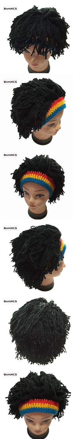 BomHCS Funny Jamaican Wig Hat Winter Warm 100% Handmade Crochet Knitted Beanie Cap Birthday Gift for Fun