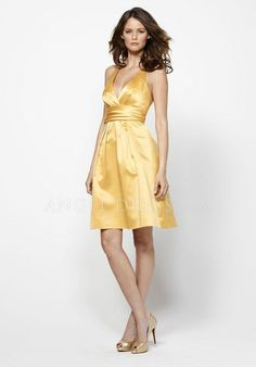 A line Satin Halter Knee Length Zipper up Sleeveless Bridesmaid Dress