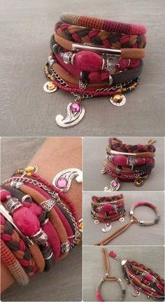 Fuchsia Grey Caramel Bollywood Bracelet Gypsy by vanessahandmade