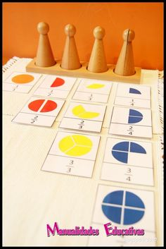 Peones fraccionados Montessori - fraction skittles montessori Printable