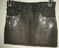 The-Childrens-Place-Girls-Black-Denim-Skirt-Size-8-Stretch-Glitter-Jean-Skorts