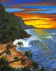 Hanakapiai Sunset - Hawaiian artwork by Kauai artist Moses Hamilton