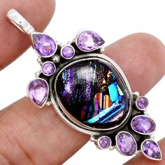 Dichodric Glass & Amethyst 925 Sterling Silver Pendant Jewelry SP148216 | eBay