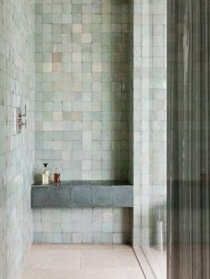 Nice tile color combo. Bathroom, ideas, bath, house, home, indoor, design, decoration, decor, water, shower, storage, rest, diy, room, creative, mirror, towel, shelf, furniture, closet, bathtub, apartments, toilet, loundry, window.