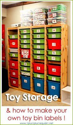 Toy Organization {Ikea Trofast system} make labels Toy Organizer Ikea, Toy Organization, Classroom Organization, Craft Storage, Classroom Layout, Organization Ideas, Toy Bin Labels, Make Your Own Labels, Ikea Trofast