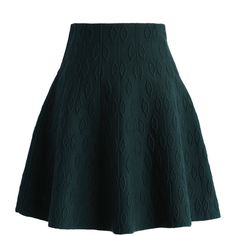 Chicwish Dark Green Embossed Knitted Skater Skirt ($42) ❤ liked on Polyvore featuring skirts, green, blue skirt, circle skirt, green circle skirt, skater skirt and flared skirt