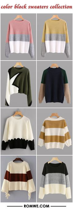 color block sweaters collection 2017 - romwe.com