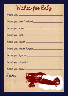 Vintage Airplane Baby Wish Cards Instant by UniquelyJDesigns, $11.00