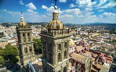 Download wallpapers Catedral de Puebla, Mexican Baroque, summer, Mexican landmarks, Mexico