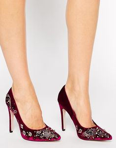 red velvet heels with CRYSTALS i'm dying