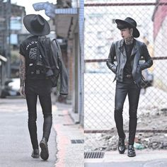 P & Co Unlovable Heartbreaker Mc, Tastemaker 達新美 Hat, Vintage Leather Jacket, Topman Black Skinny Jeans, Dr. Martens Shoes