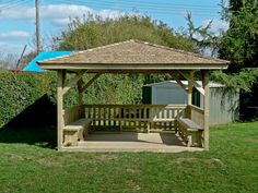 A wooden gazebo is a beautiful addition to the garden. You have two basic options when considering a wooden gazebo for your yard. Diy Pergola, Pergola Decorations, Backyard Gazebo, Pergola With Roof, Pergola Shade, Pergola Ideas, Pergola Kits, Patio Roof, House Decorations