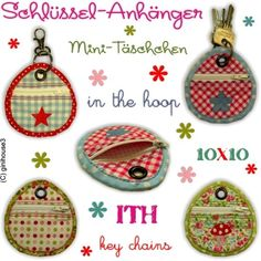 ★ Schlüsselanhänger ★ Mini-Täschchen ★ key chain ★ 10x10 - ginihouse3