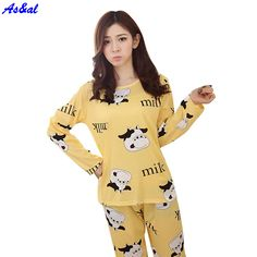 71b93626b38 Autumn Women Pajamas Suits Indoor Cartoon Clothing Home Suit Sleepwear Long  Sleeve Pyjamas Sets Sleepwear Women