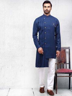 Shop Dusty blue color solid pleats pattern kurta suit online from India. Kurta Pajama Men, Kurta Men, Mens Sherwani, Gents Kurta Design, Boys Kurta Design, African Dresses Men, African Clothing For Men, Nigerian Men Fashion, Indian Men Fashion