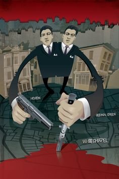 Poster Illustration of 60s East London Twin gangsters The Krays