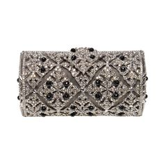 Edidi Platinum clutch with onyx (28.760 HRK) ❤ liked on Polyvore featuring bags, handbags, clutches, purses, accessories, edidi, brown handbags, brown purse, clasp purse and hand bags
