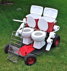 Afraid of not having a bathroom on the go? Take this toilet car with you so you never have to worry about rest stops on the road. Except you probably won't get anywhere very fast.