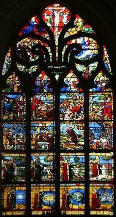 Vitrail de la Genèse (vers 1500),L'église Sainte-Madeleine. Troyes. Marne. Champagne