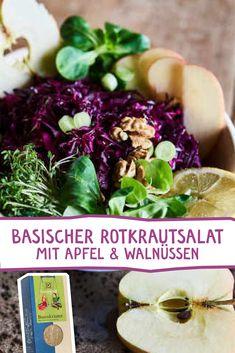Mit diesem herrlichen Salat und unseren ausgewählten Bio Basenkräutern, bekommst du deinen Säure-Basen Haushalt wieder ins Gleichgewicht. #basenkräuter #salat #basisch #basischkochen #diät #basisch #kräuter #gesund #detox #übersäuerung #rezept #salat #rotkraut #lecker #rezeptidee Vegan, Dressings, Cabbage, Vegetables, Cooking, Food, Salads, Side Dishes, Apple