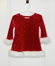 Bonnie Baby Red Sparkle Christmas Dress White Faux Fur Trim Toddler Girl 18 mos