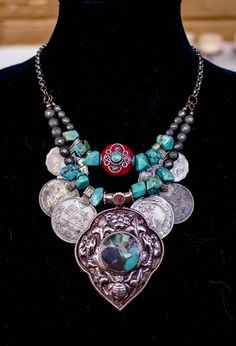 Tibetan Turquoise and Coin Necklace Boho Gypsy Tribal Belly Dance Festival Burning Man