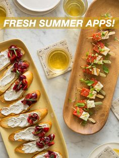 Fresh Summer Apps - We have Grilled Watermelon and Queso Blanco Skewers and Fresh Cherry and Whipped Burrata Crostinis Appetizers For Party, Appetizer Recipes, Appetizer Ideas, Grilled Watermelon, Spoon Fork Bacon, Salsa, Sandwiches, Summer Recipes, Summer Snacks