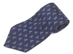 Ralph Lauren Necktie Navy Blue Graphic Flying Ducks Mens Classic Silk Tie #LaurenRalphLauren #NeckTie