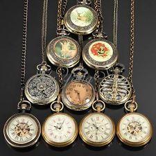 Montre à Gousset Grand Steampunk Mécanique Skeleton Vintage Chaîne Pocket Watch