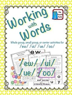 EW UE UI Activities For Learning Phonics sounds Phonics