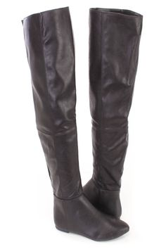 These sexy and stylish thigh high riding boots feature a faux leather upper with an almond shaped closed toe, stitched trim, smooth lining, and cushioned footbed. Approximately 17 inch circumference and 22 inch shaft.