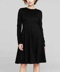 Another great find on #zulily! Black Long-Sleeve A-Line Dress #zulilyfinds