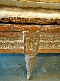 daybed detail - alexandra french antiques. How to duplicate the finish on a pair of small benches.
