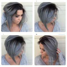 Rooty Silver gray aline bob More