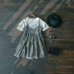 Gingham check babydoll dress & sea print tee:  www.oliveclothing.com/new