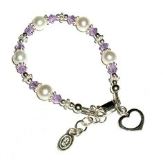 """Sterling Silver Children's Jewelry Baby Infant Bracelet with Pearls, Lavender Crystals and Heart Charm in Gift Box, 0-12 months (4 - 4.5"""" adjustable) Tiny Treasures. $27.00"""