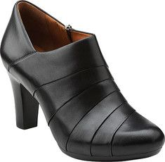 Society Gown takea a graceful, stylish bootie to the next level with quality materials and comfort.Sleek and sexy, this shoe bootie is crafted by Clarks® Artisan with a mini side zip, and chic leawood heel. Soft leather linings and an extra-padded OrthoLite® foam footbed surround the foot