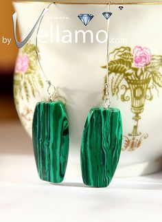 Earrings with large green malachite gemstones by byVellamo on Etsy, $21.00